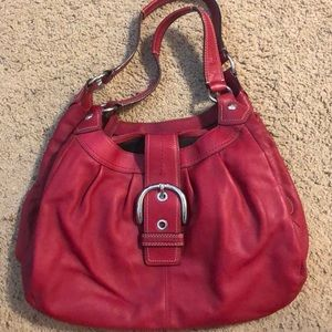 Red leather Coach shoulder purse